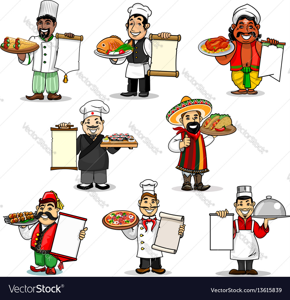 Chefs icons and restaurant menu