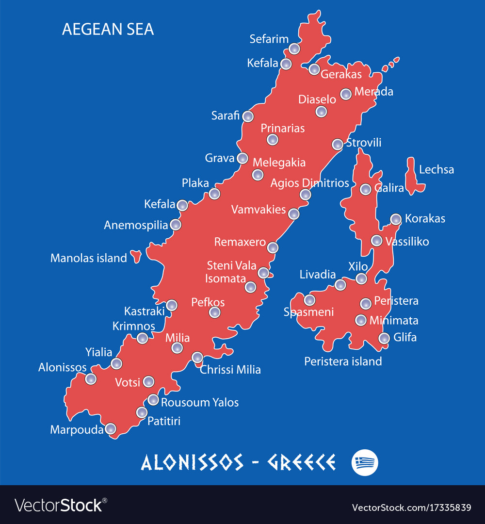 Island of alonissos in greece red map Royalty Free Vector