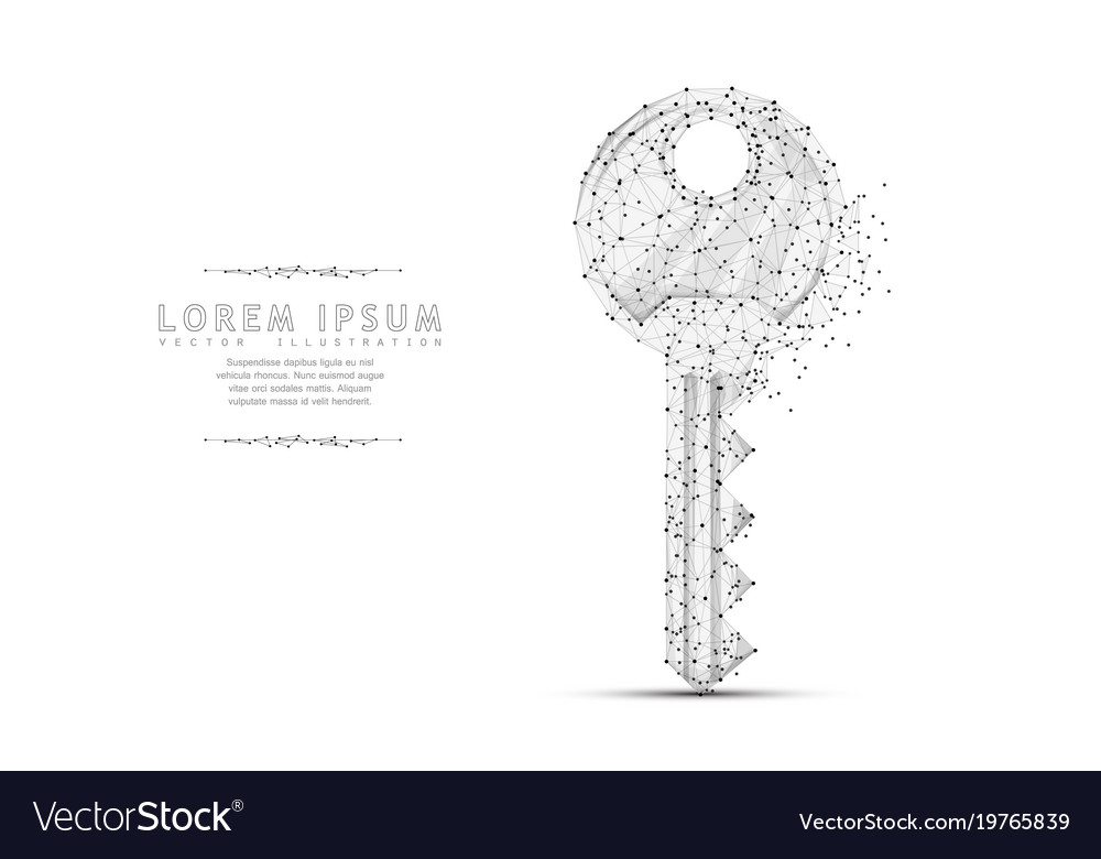 Key polygonal wireframe mesh art with crumbled