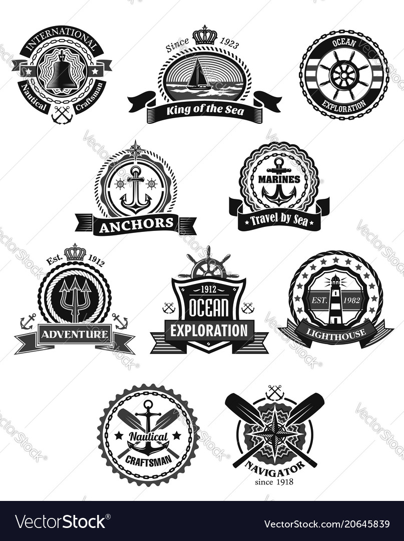 Nautical and marine isolated heraldic badge set