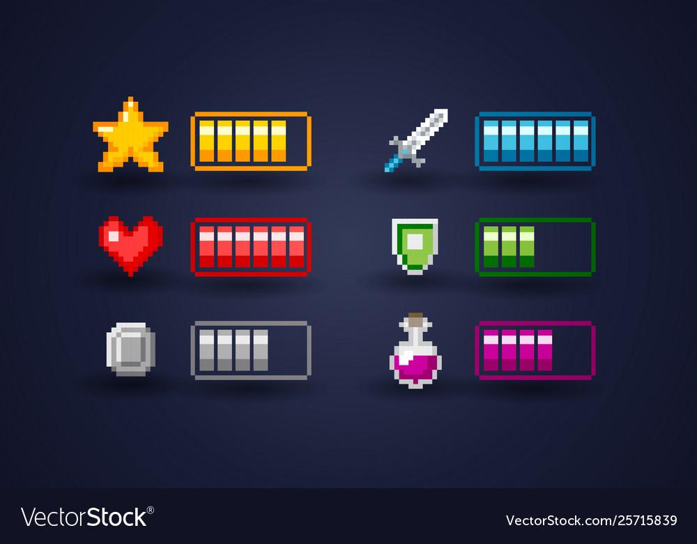 Pixel art video game interface icon set