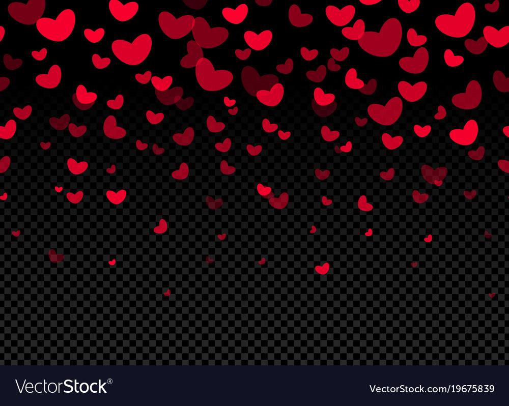 Seamless hearts border on dark background
