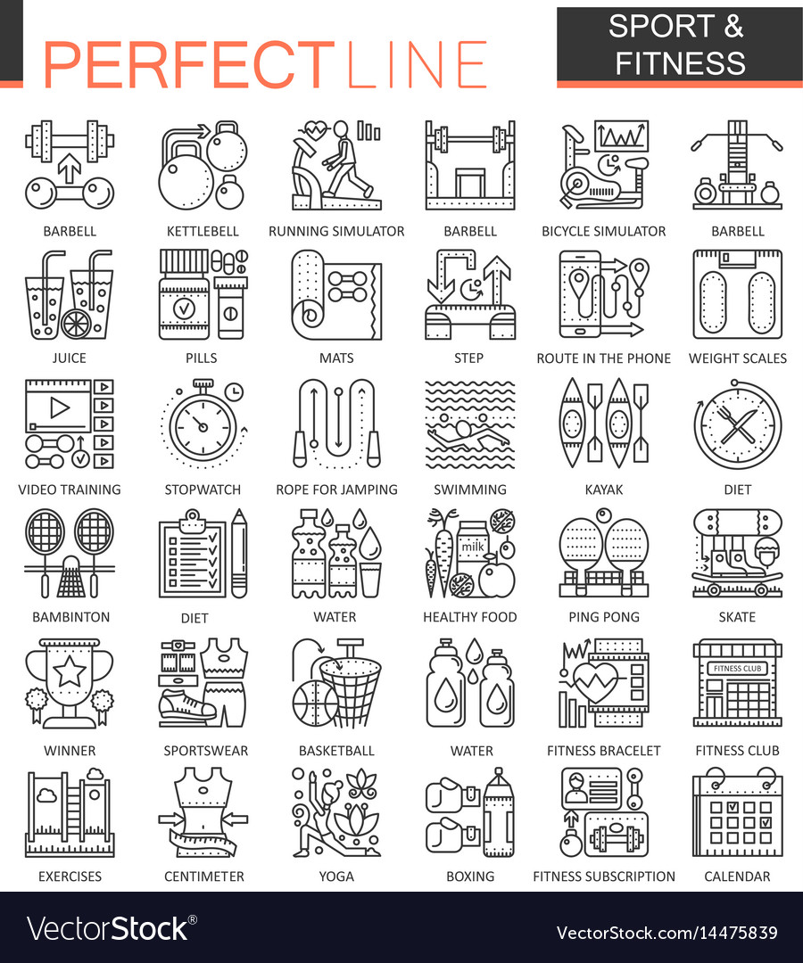 Sport and fitness outline concept symbols perfect