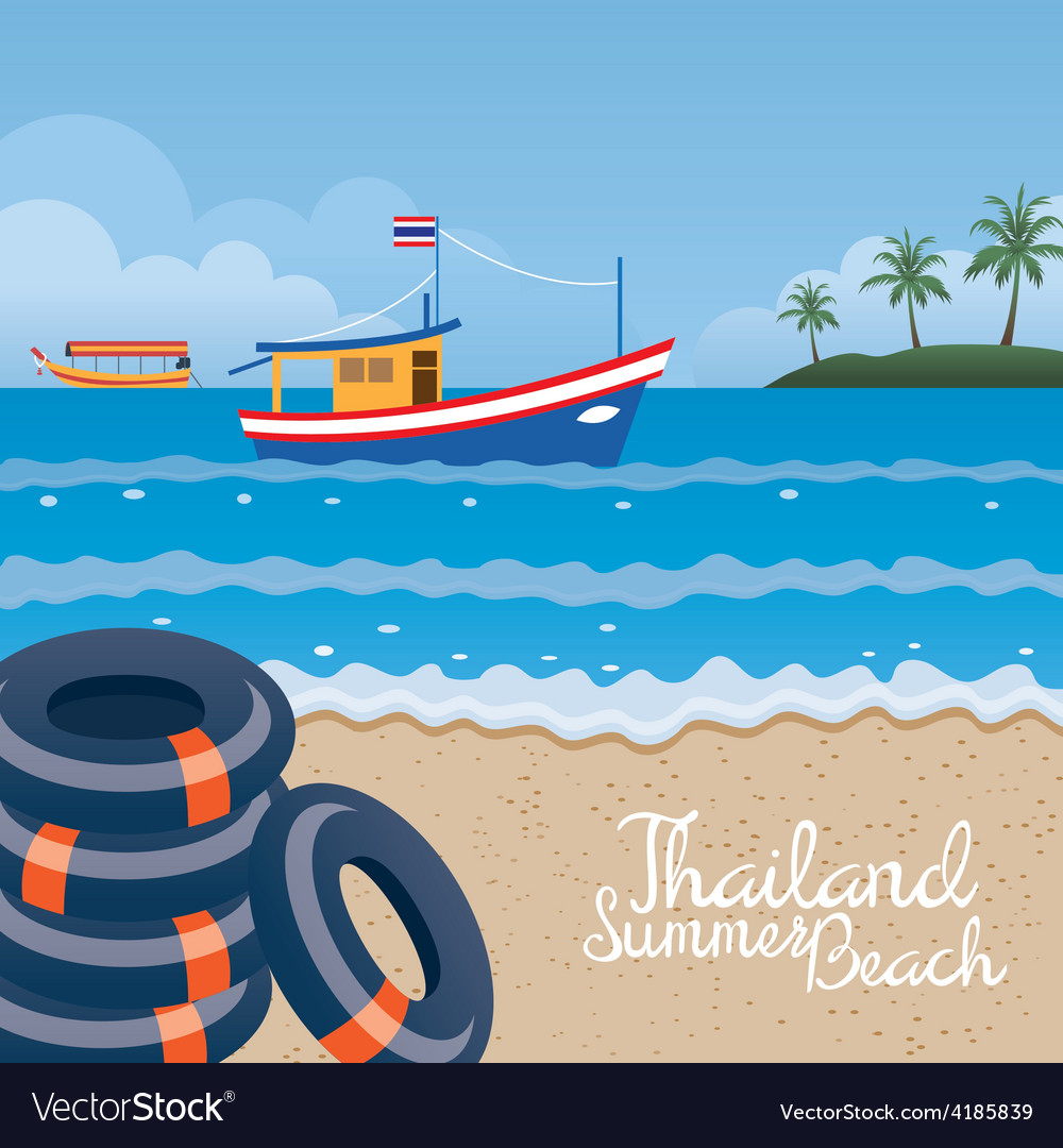 Thailand Summer Beach with Swim Ring Boat Island