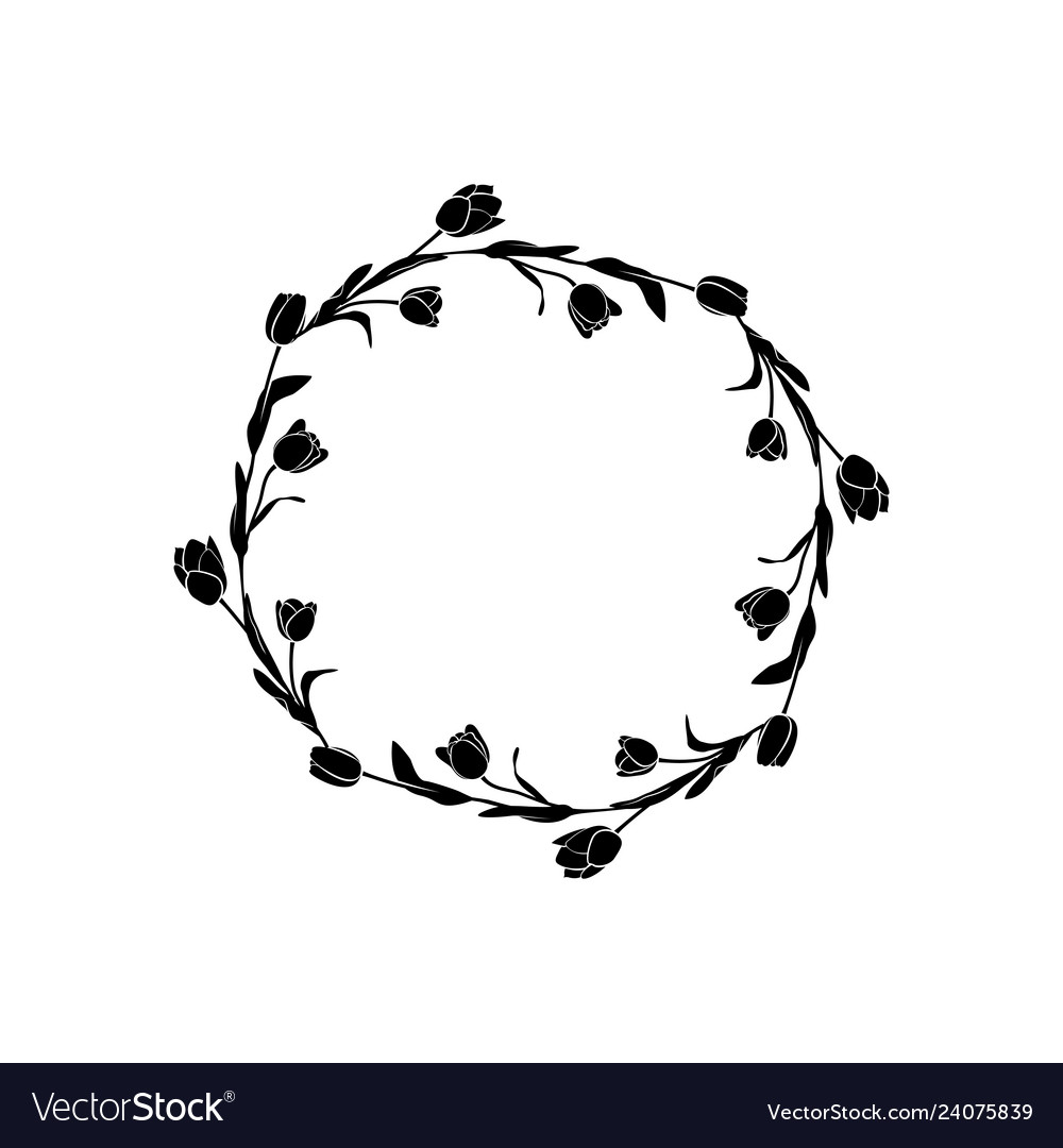 Tulips frame round floral pattern