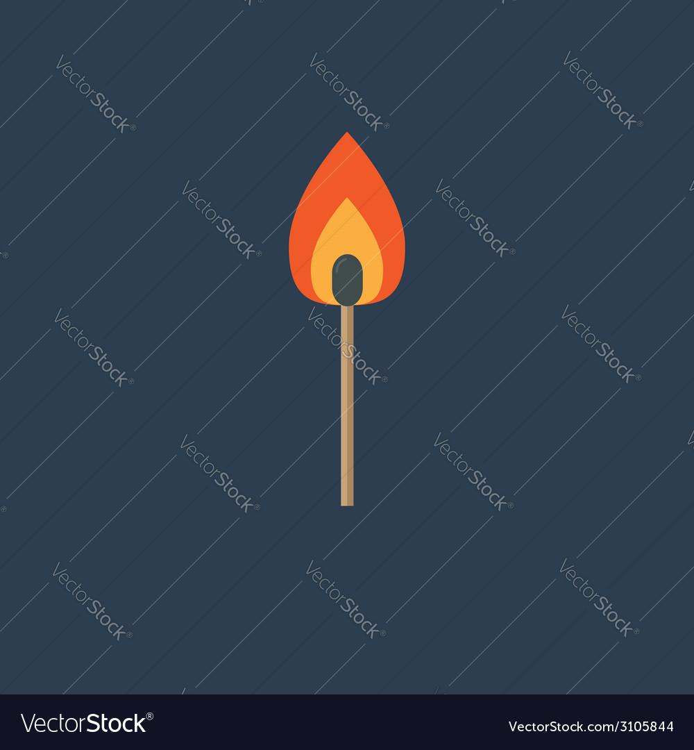 Burning match with orange fire light Flat design s vector image