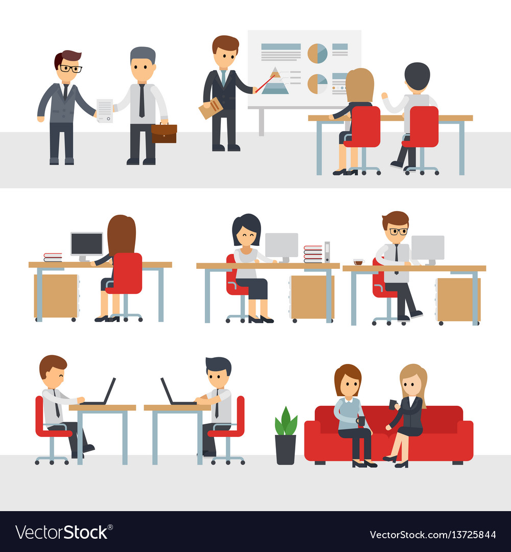 Business people work at office cartoon