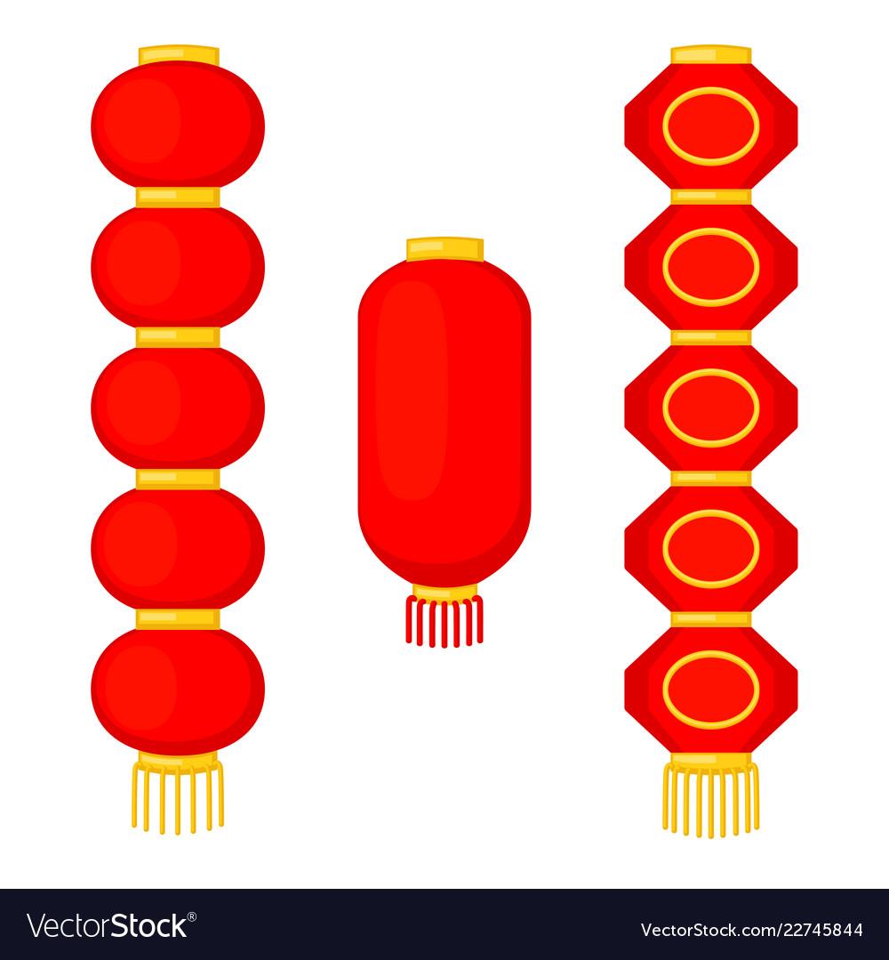 Cartoon red chinese paper lantern set