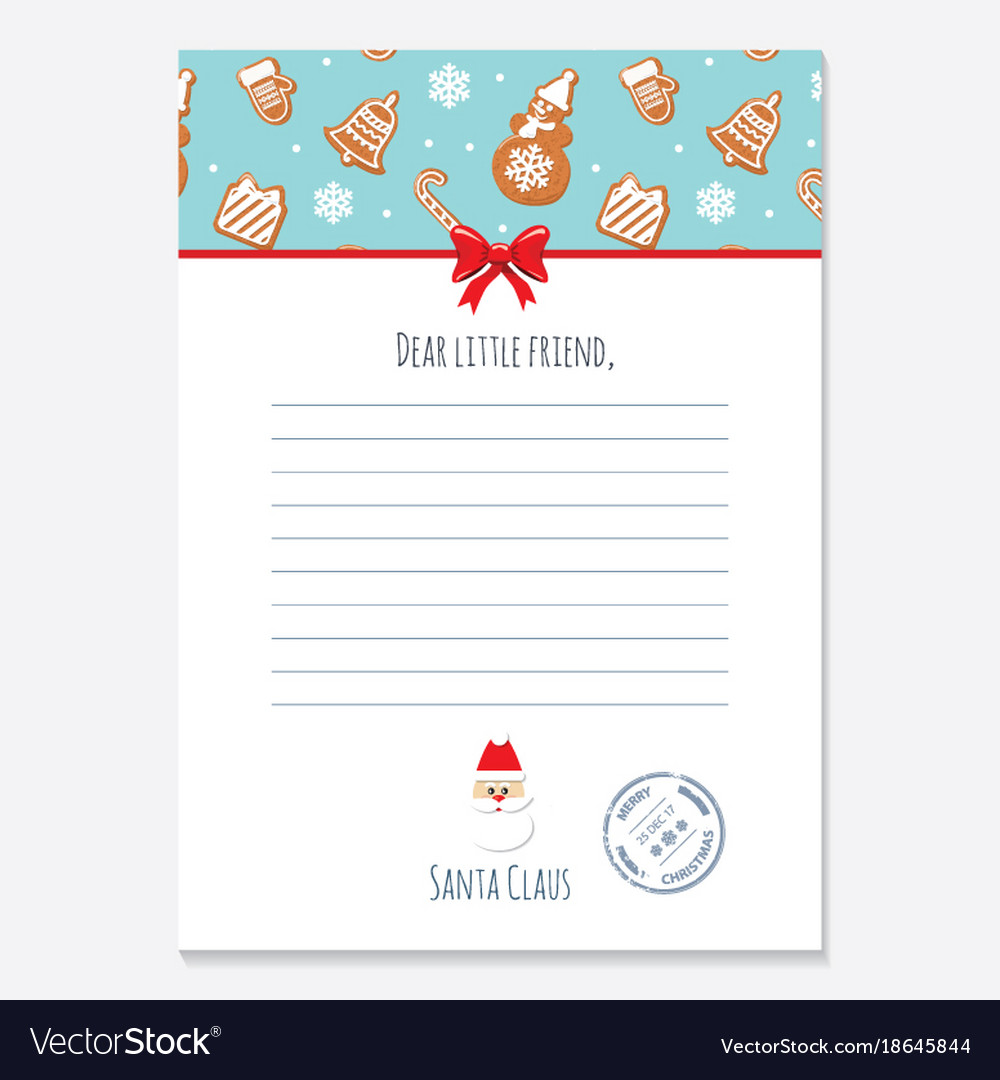 Christmas letter from santa claus template layout vector image spiritdancerdesigns Images