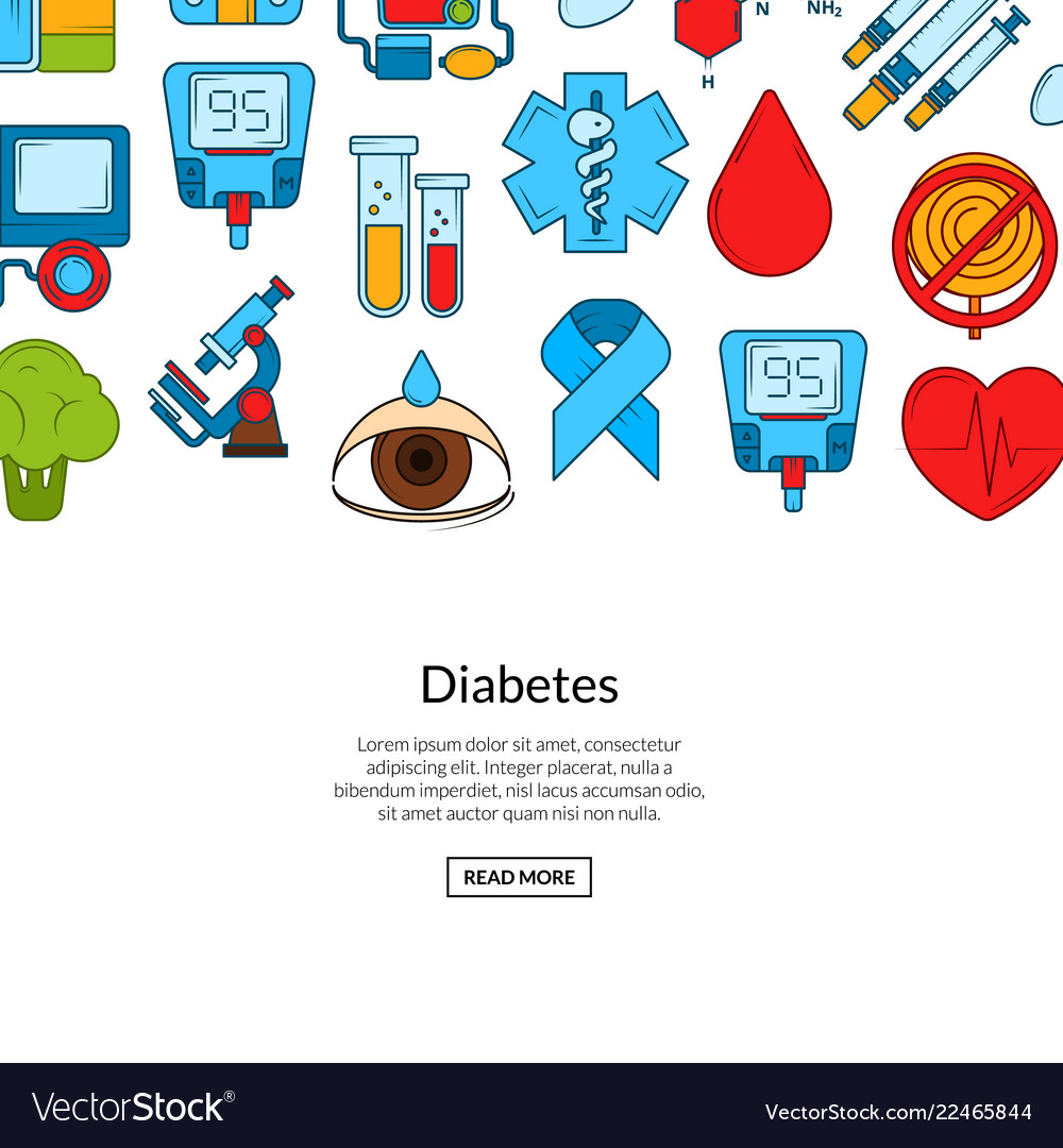 Colored diabetes icons background banner