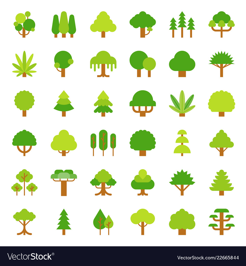 Cute simple tree and plant icon flat design