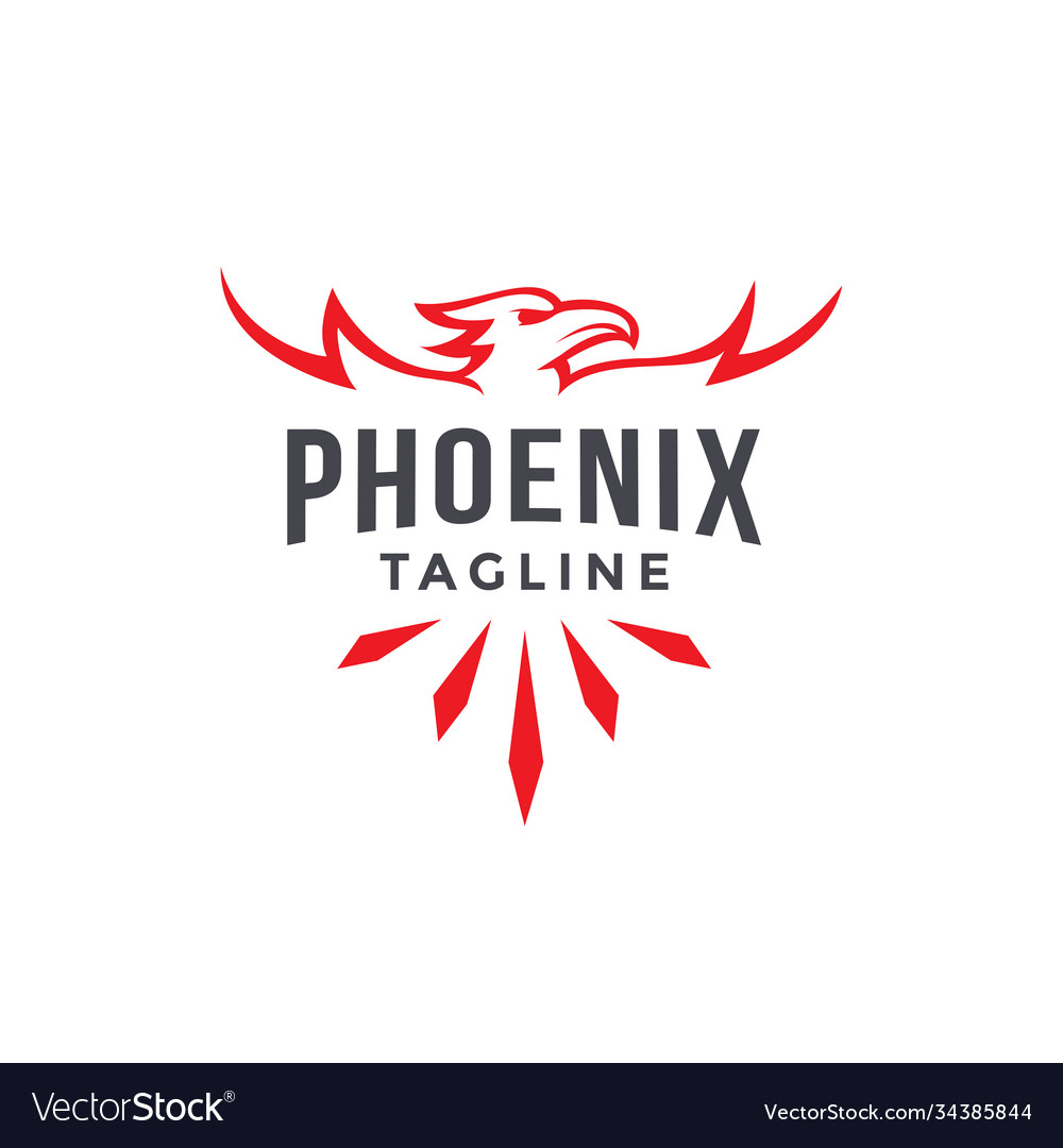 Emblem label phoenix logo template