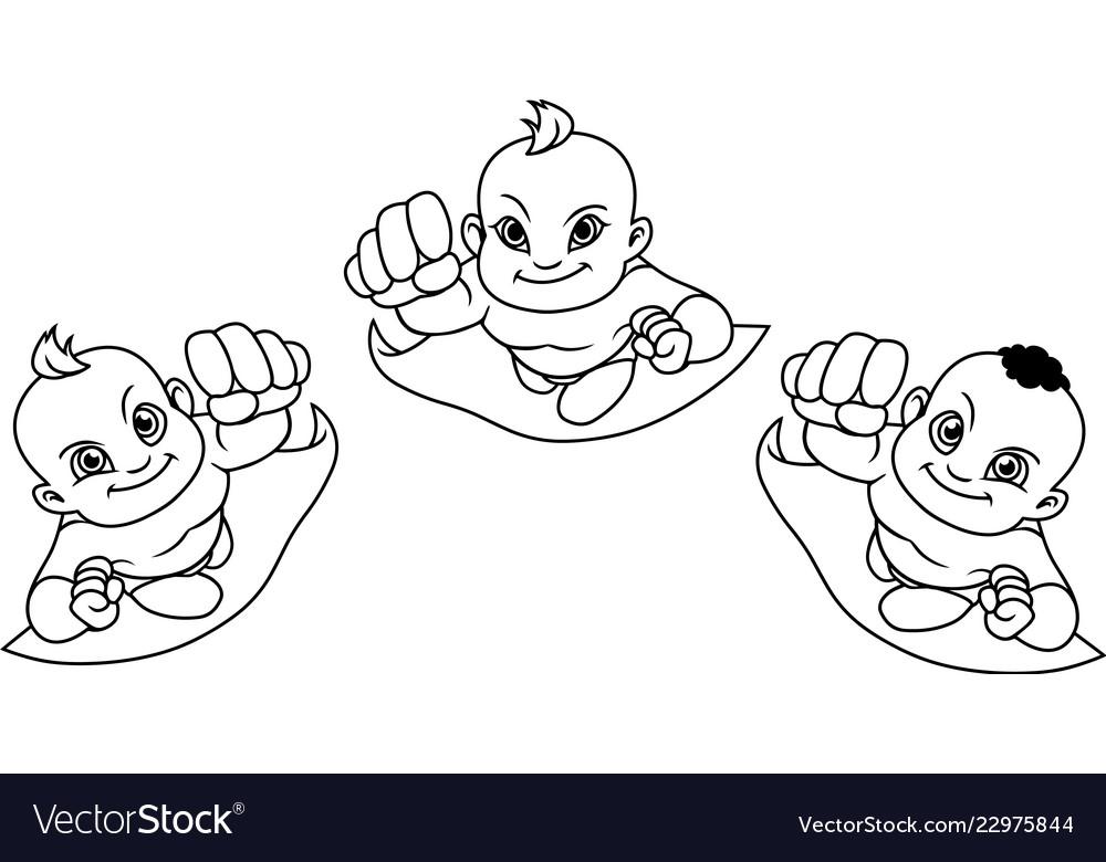 Flying babies line art