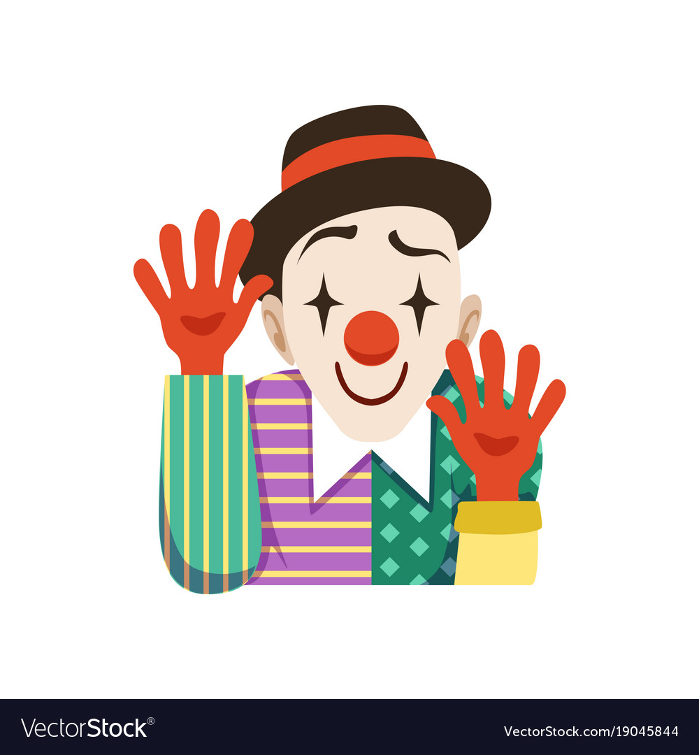 Funny circus clown in traditional makeup with