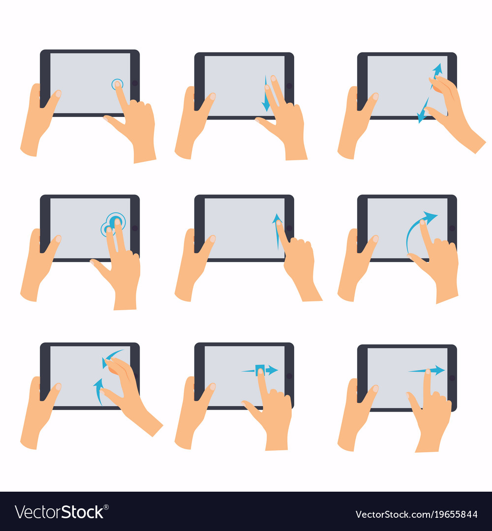 Hands holding a tablet touch computer gadget hand