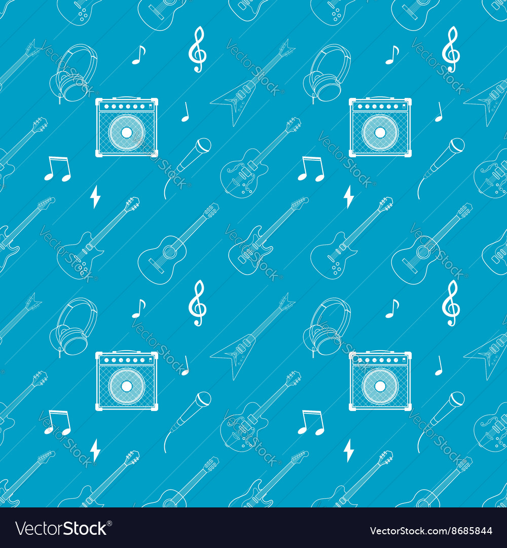 I love music Seamless pattern with guitars