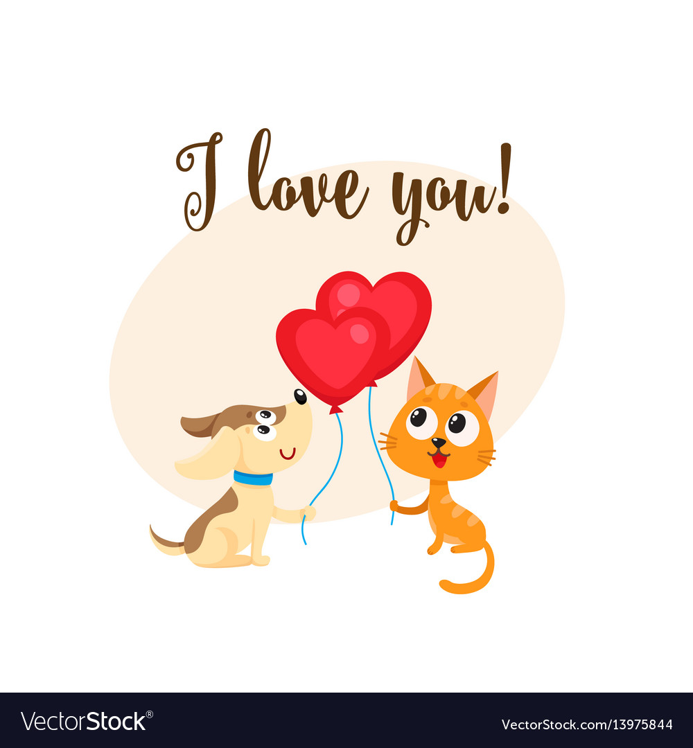 I love you card with dog cat heart shaped