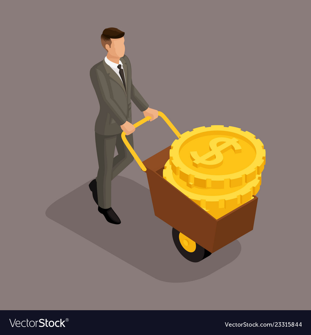 Isometric businessman big pile dollars in a bank