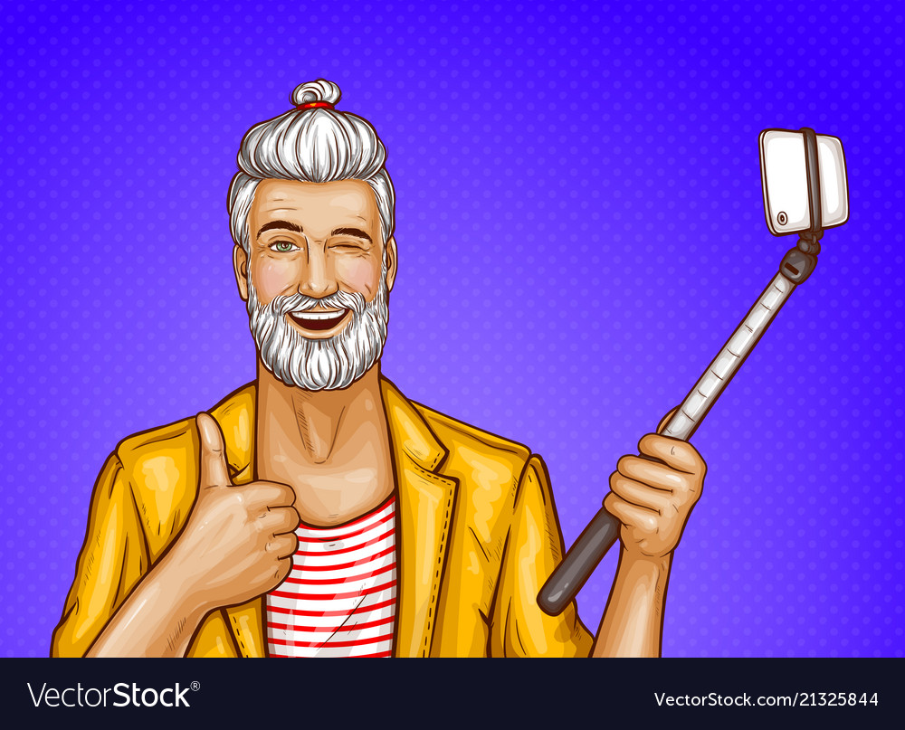 Old man with selfiestick and smartphone
