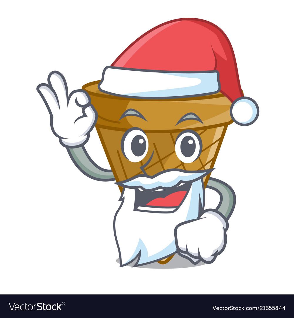 Santa sweet wafer cone isolated on maskot