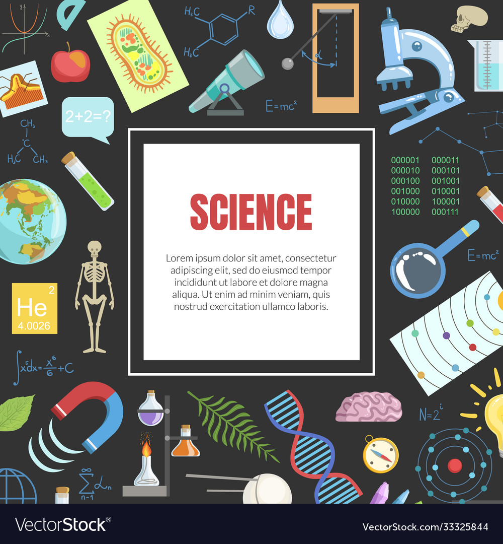 Science banner template with square frame Vector Image Inside Science Fair Banner Template