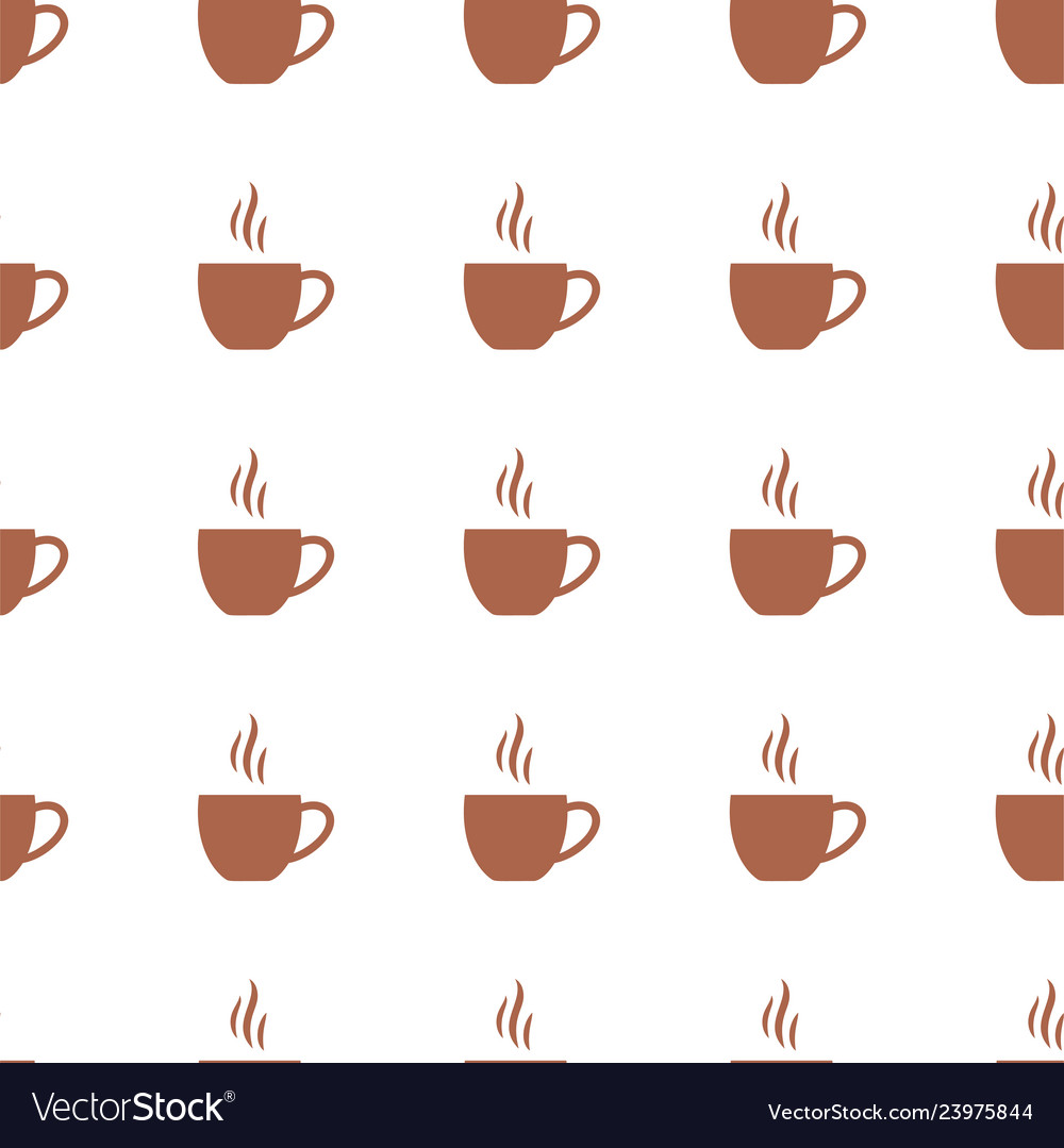 Seamless pattern with flat coffee cups