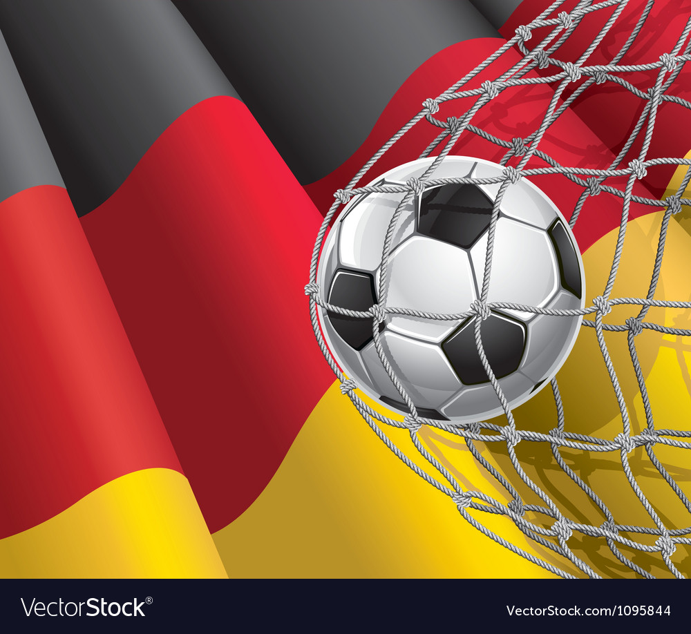 Soccer goal and German flag