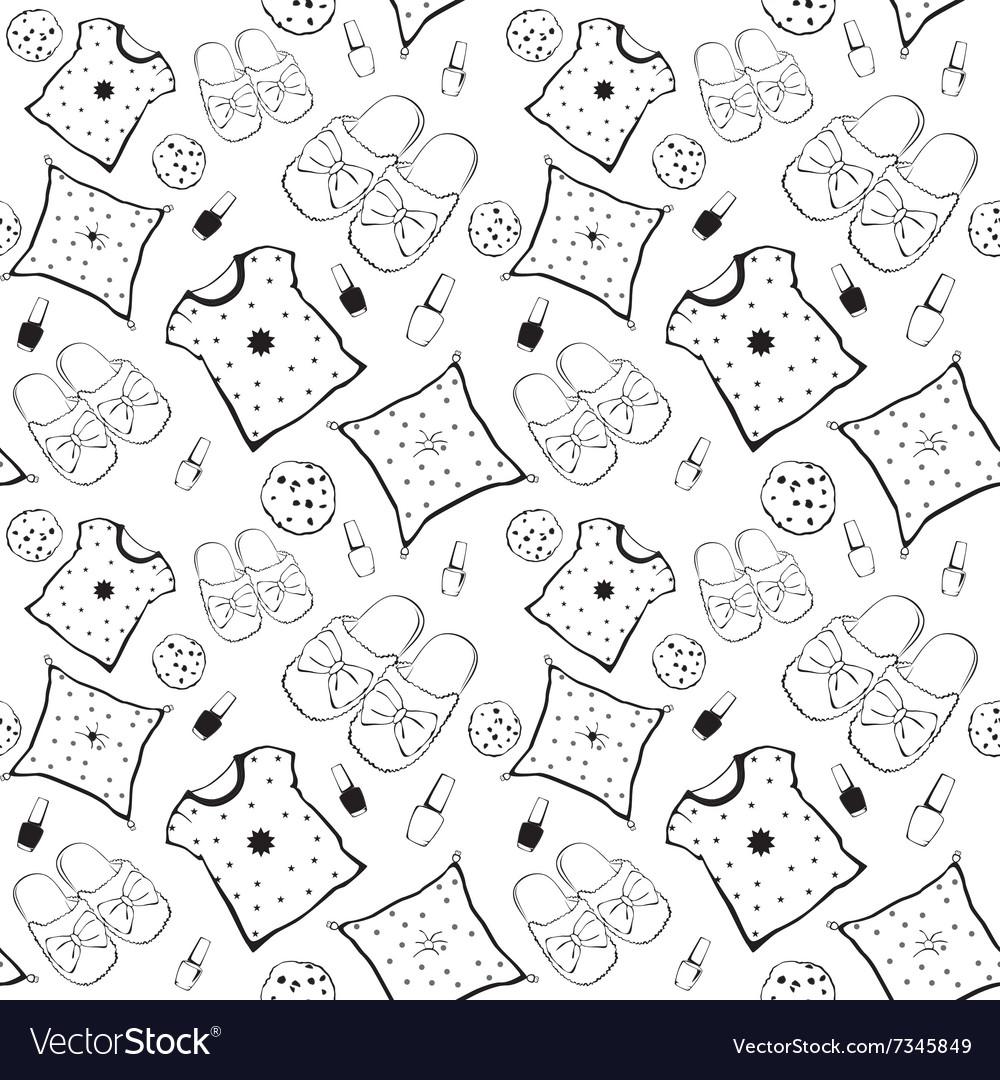Black White Pajama Movie Night Party vector image