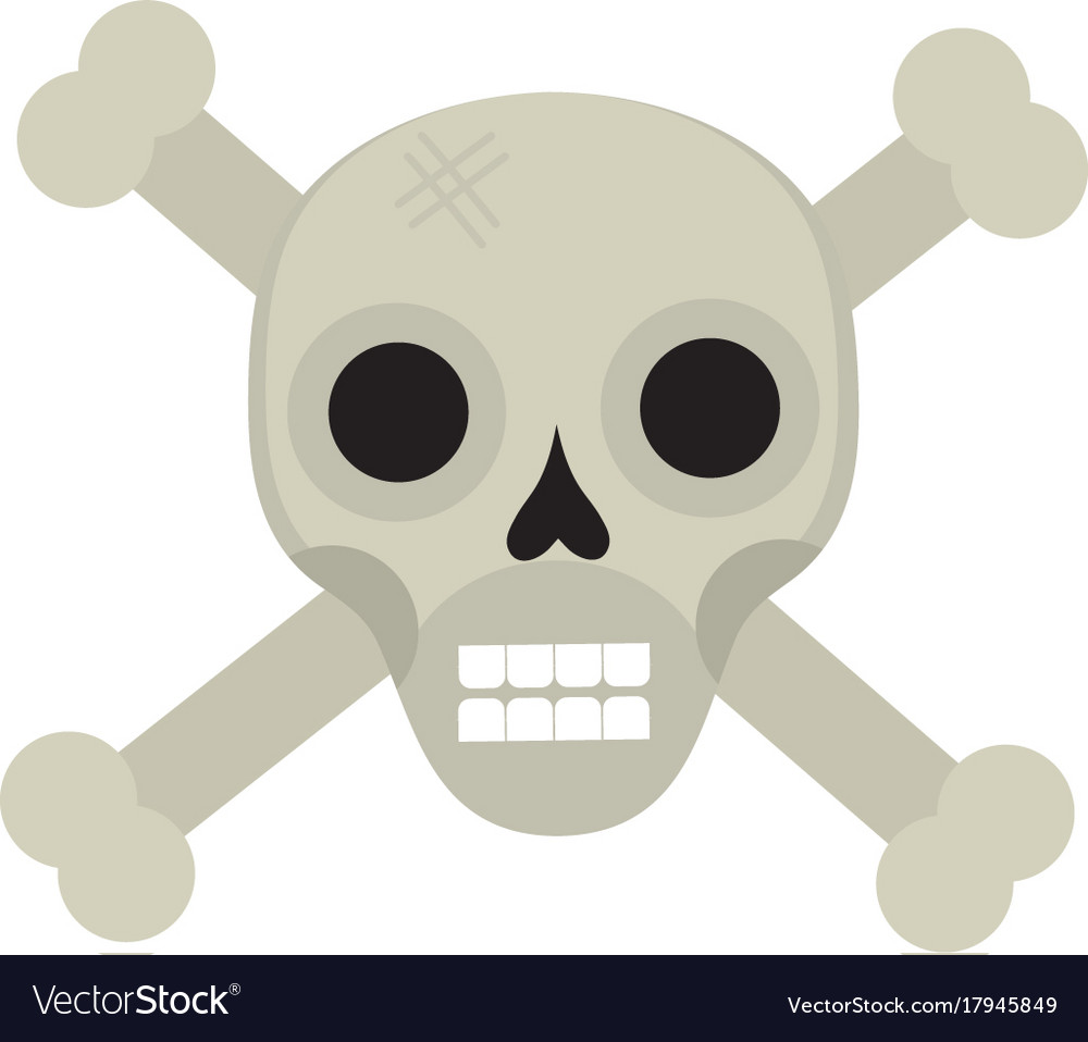Bones and skull icon flat style isolated on white