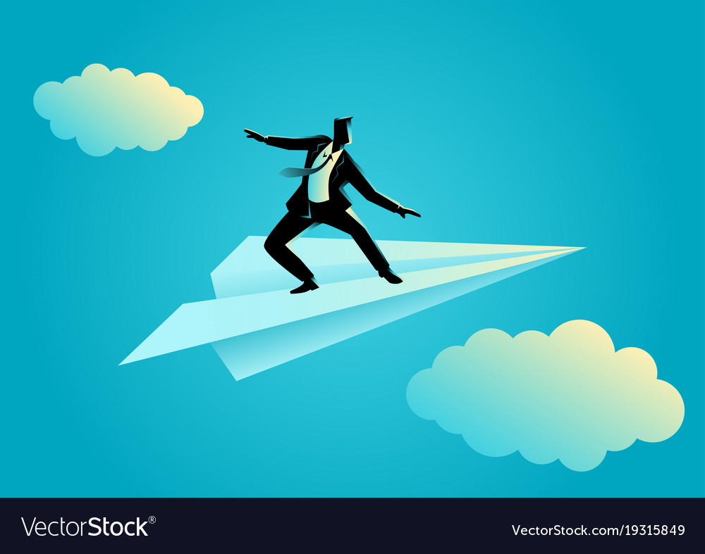 Businessman balancing on paper plane
