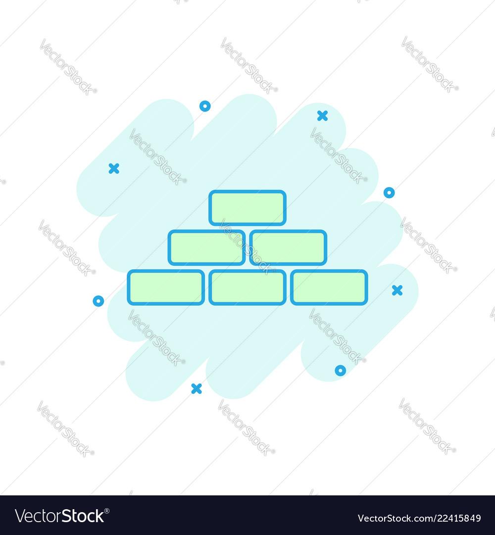 Cartoon wall brick icon in comic style wall sign