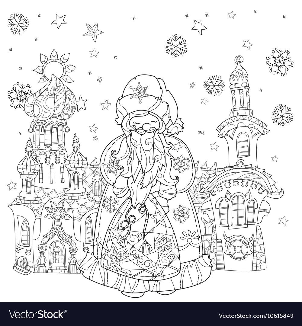 Cute christmas fairy tale town doodle