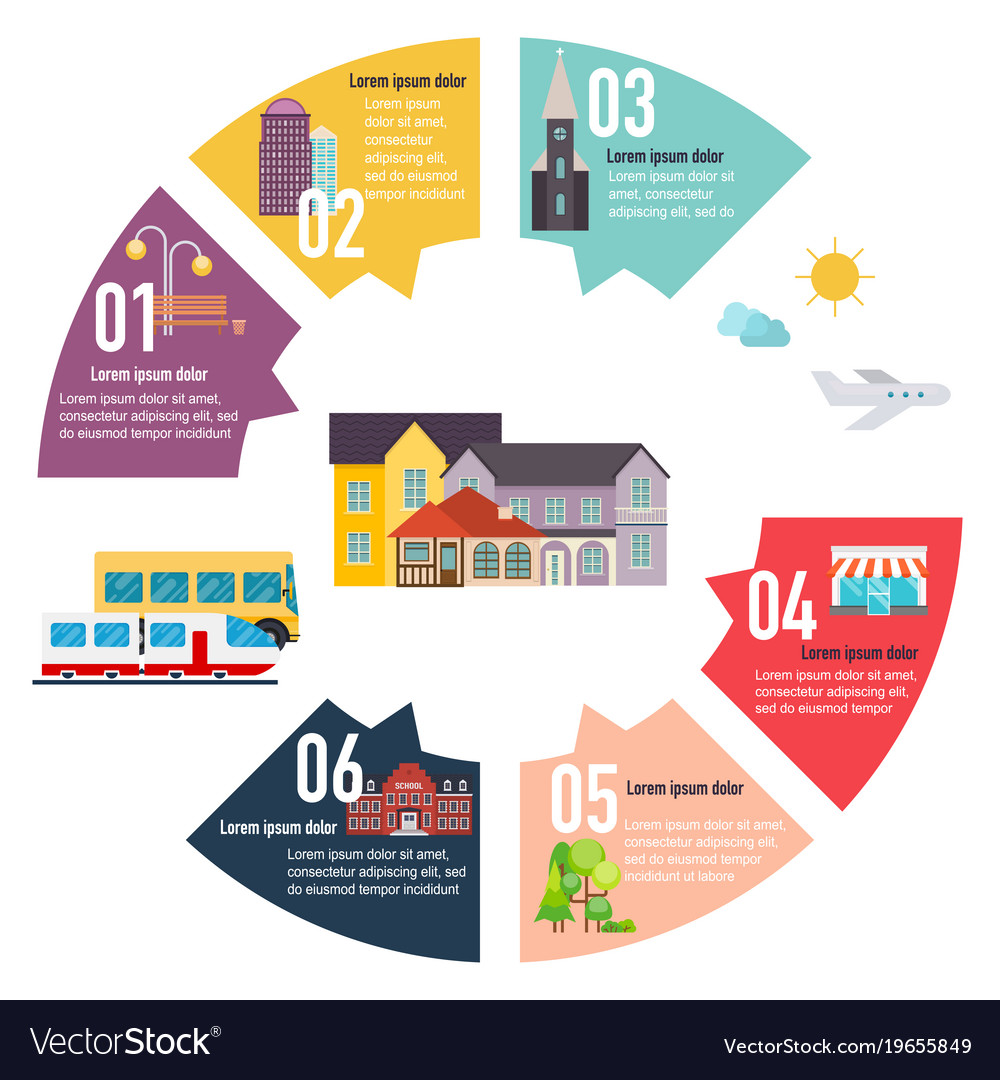 Different places to live houses infographic flat