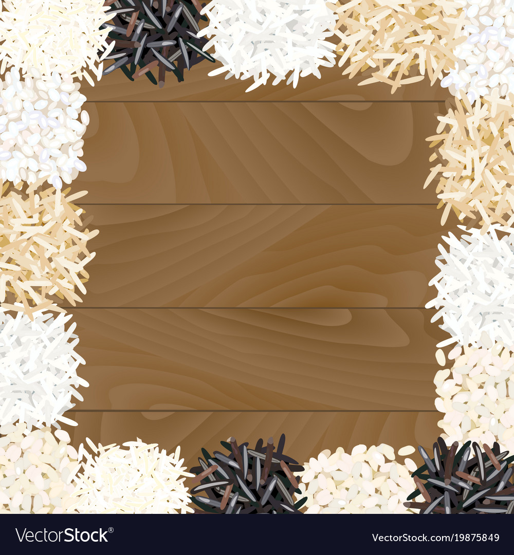 Different types of rice on wooden background vector image