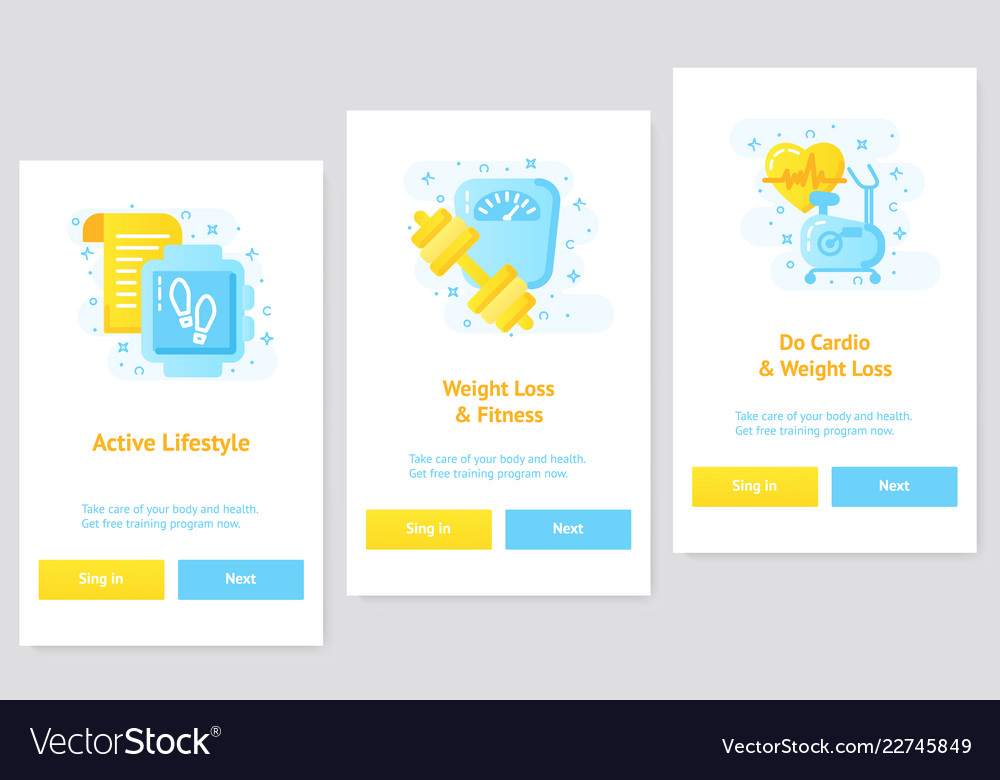 Flat Design Ui Ux Concept Weightloss App And Vector Image
