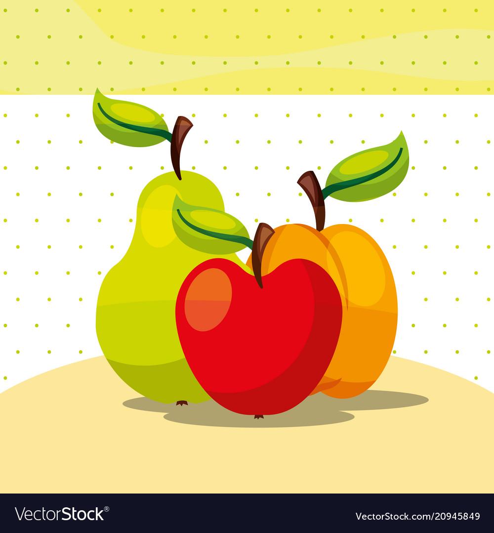 Fruits fresh organic healthy apple peach pear