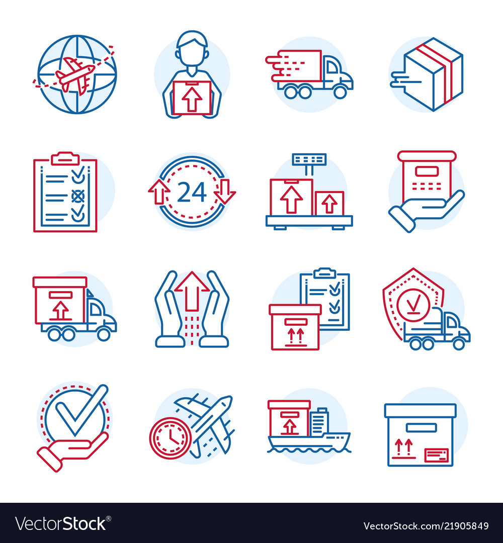 Global parcel delivery icon set outline style