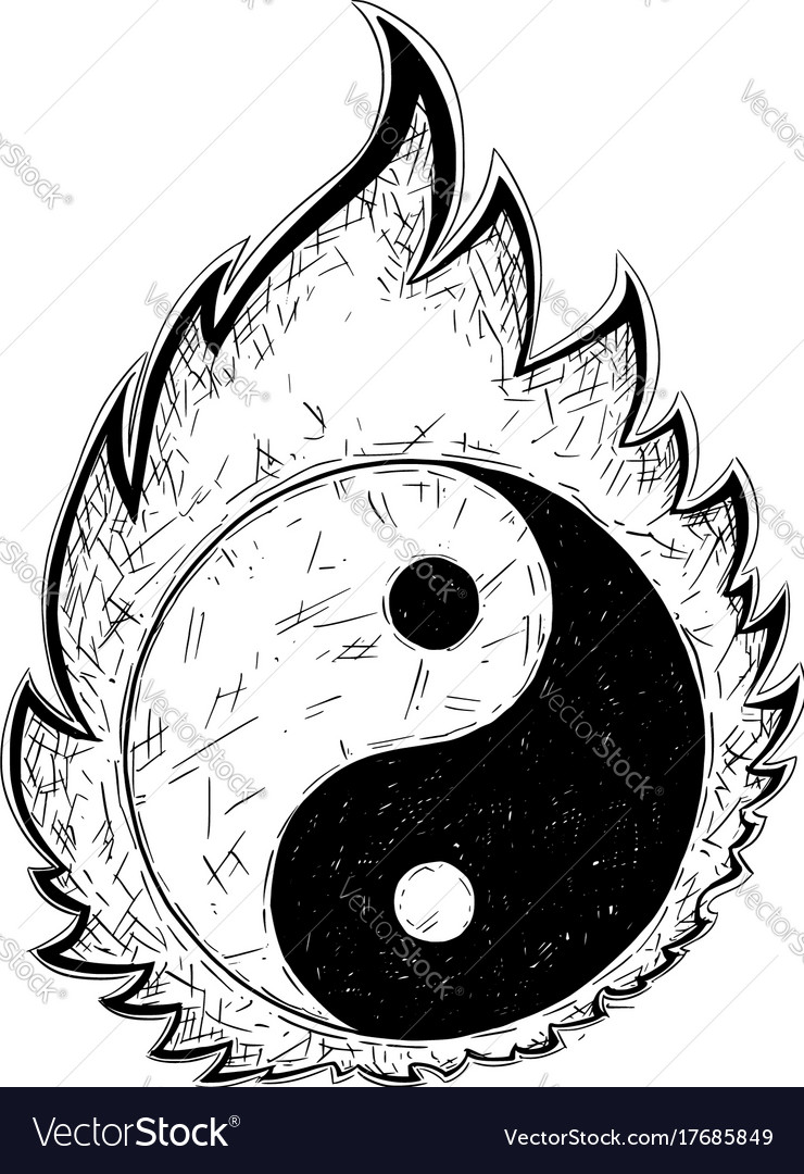 Hand Drawing Of Yin Yang Jin Jang Symbol Vector Image