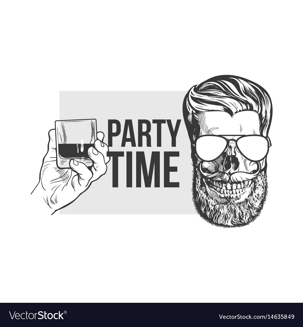 Hand drawn poster with hipster skull and hand