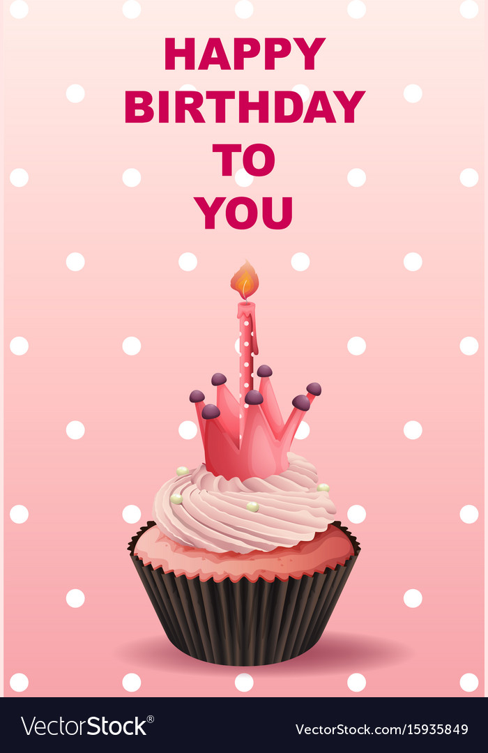 Happy Birthday Card Template With Pink Cupcake Vector Image