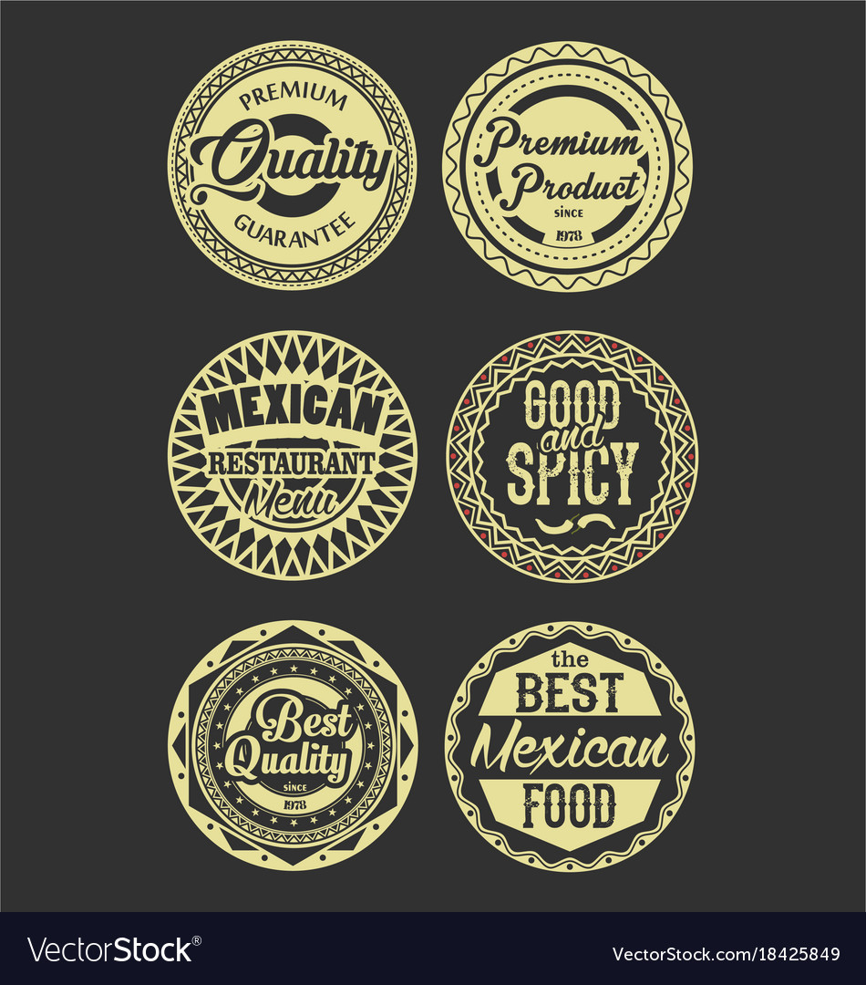 Mexican design retro vintage labels black and