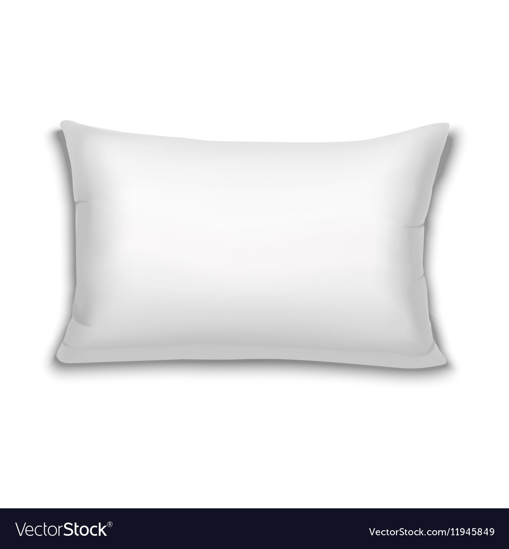 Realistic white rectangular pillow vector image
