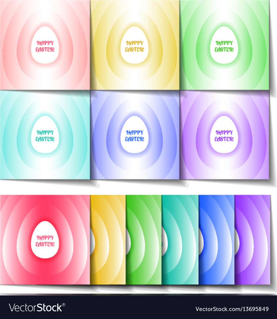 Set of easter cards of different colors with a vector image