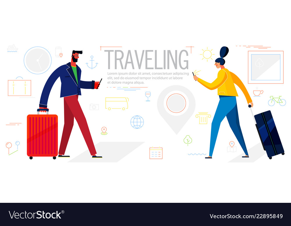 Traveling concept banner trendy character design