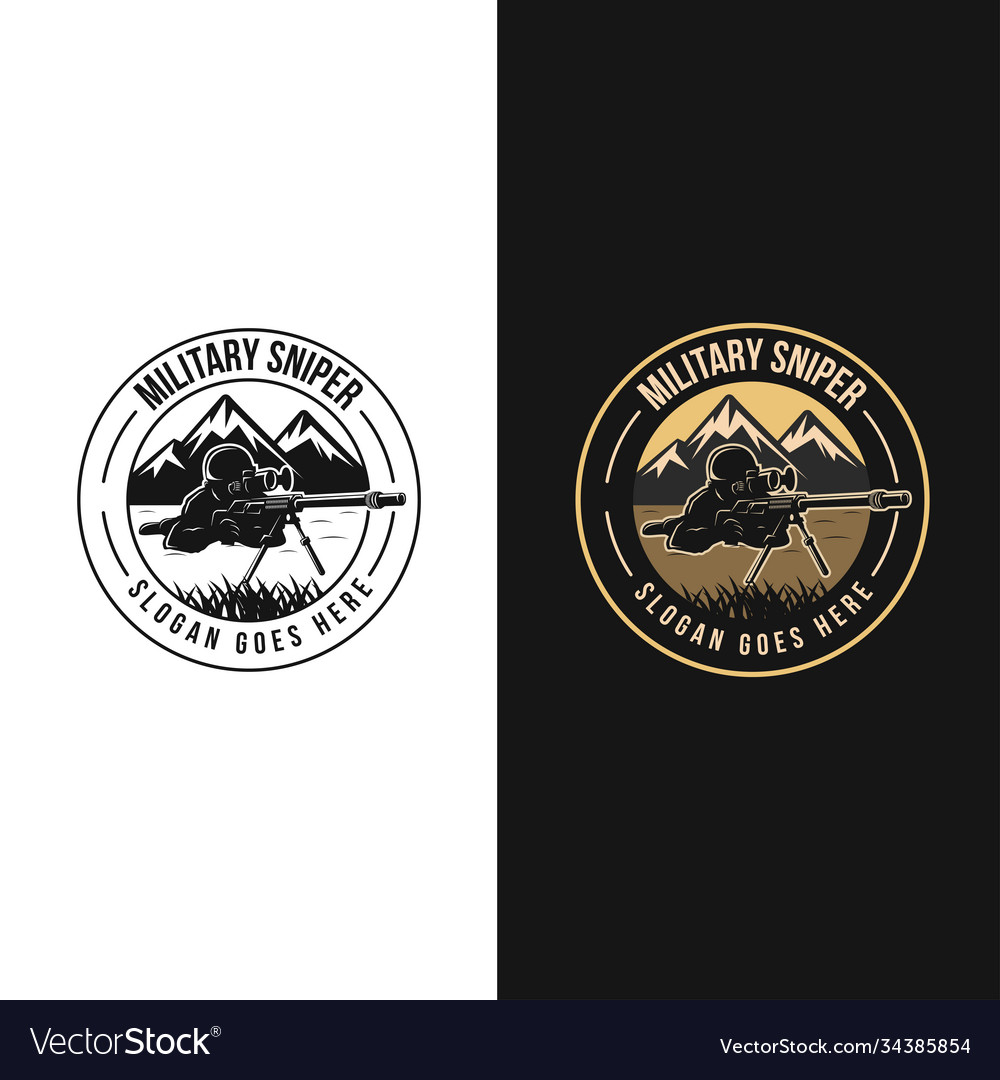 Badge emblem military sniper logo