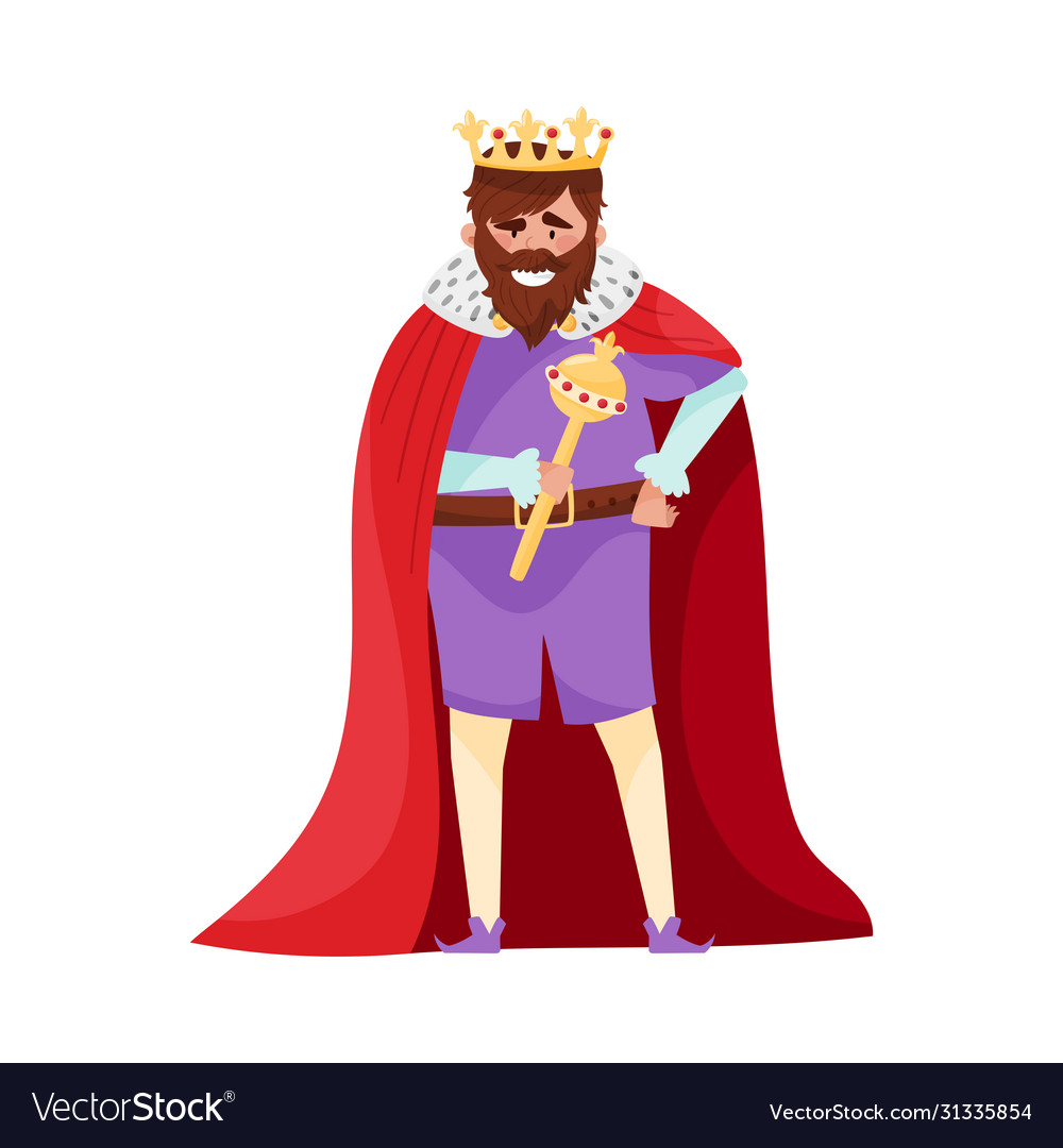Bearded King With Crown And Scepter Wearing Red Vector Image Cartoon crown stock vectors, clipart and illustrations. vectorstock