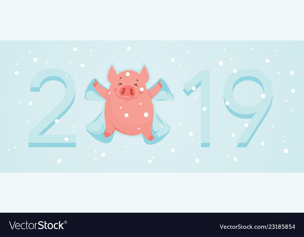 Cute winter pig make snow angel happy new year of