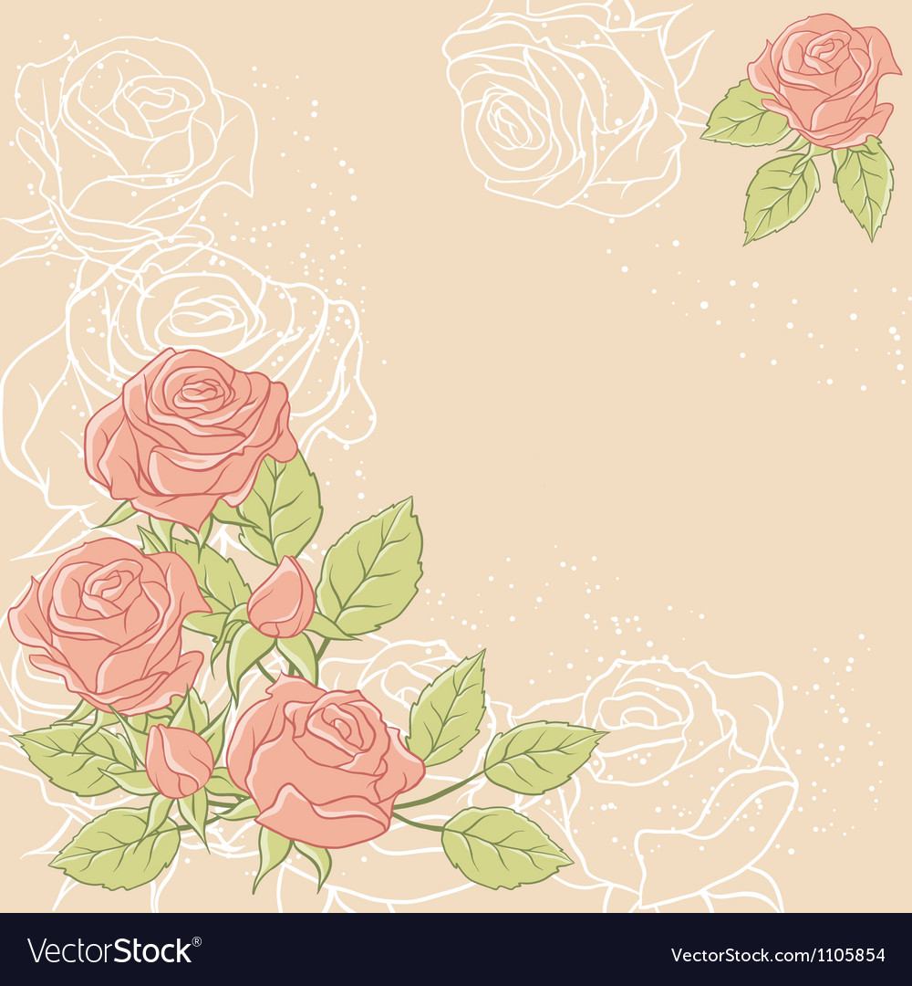 Floral background with rose in pastel tones