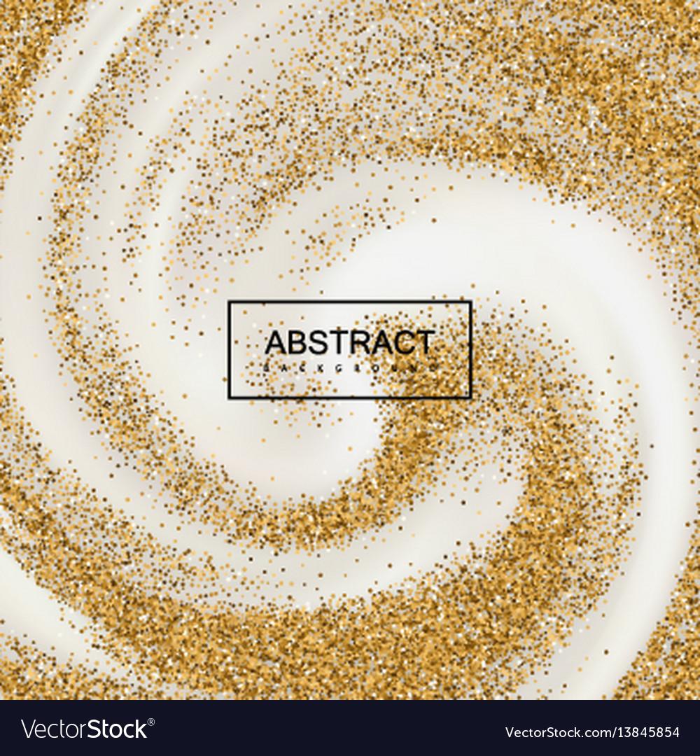 Golden confetti glitters on creamy swirling