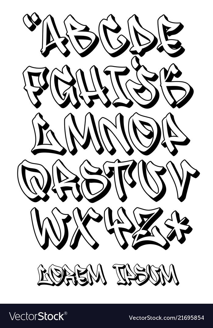 Graffiti Font 3d Hand Written Alphabet Vector Image